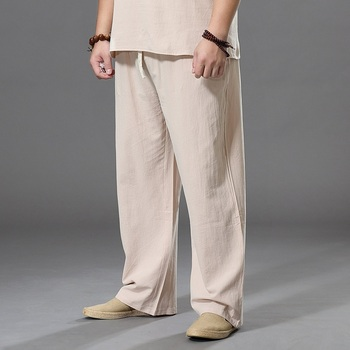 Pants Large Size Summer Men's Cotton Tall Big Sizes Wide Leg Linen Pant Oversized Jogger Trousers Male Plus Loose Men - discount item  68% OFF Pants