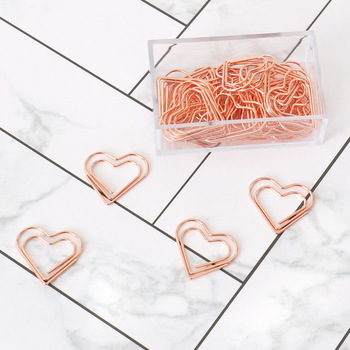 TUTU 30pcs/set heart Bookmark Metal Paper Clip Decor Rose Gold Colorfur Book Note Decoration Binder Clip Stationery H0405 1