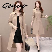 Genuo 2019 New Casual Women Long Trench Coat 2019 New Spring Korean Style Oversi