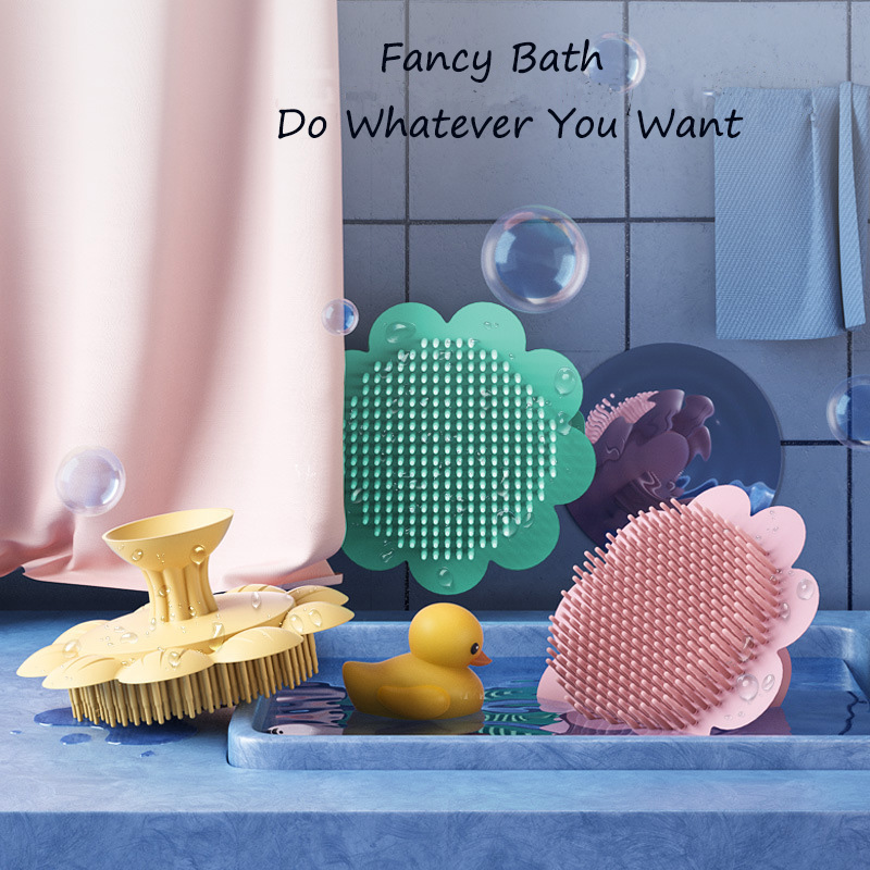 Baby Brushes for Bath Silicone Brushes Combs for Children Head Body Scalp Massage Brush Cute Flower Shape Brushes for Baby Bath