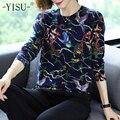 Женский свитер с принтом YISU, Свободный пуловер с круглым вырезом и длинным рукавом, джемпер с принтом птиц на осень и зиму