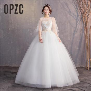 2019 lace White Ball Gowns Illusion Wedding Dresses for bride Dress gown Elegant Delicate Lace Pattern Dress0.85 - discount item  34% OFF Wedding Dresses