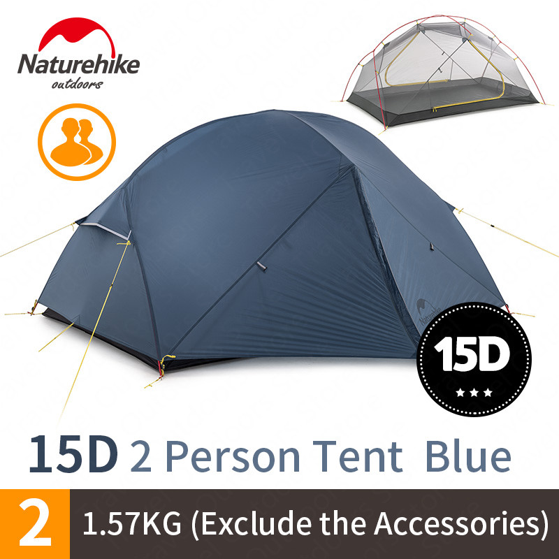 Naturehike 2020 nowy Mongar 15D Ultralight Camping namiot 2 osób Nylon dwuwarstwowa wodoodporna odkryty przenośne namioty wspinaczkoweNamioty   -