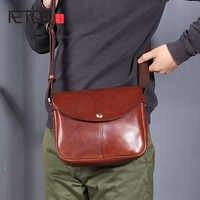 AETOO Head leather slant bag, handmade vintage leather shoulder bag, trendy casual men's bag