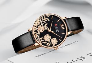 Image 4 - CURREN Uhr Frauen Exquisite Floral Design Uhren Mode Lässig Quarz Dame Uhr frauen Wasserdichte Weibliche Uhren