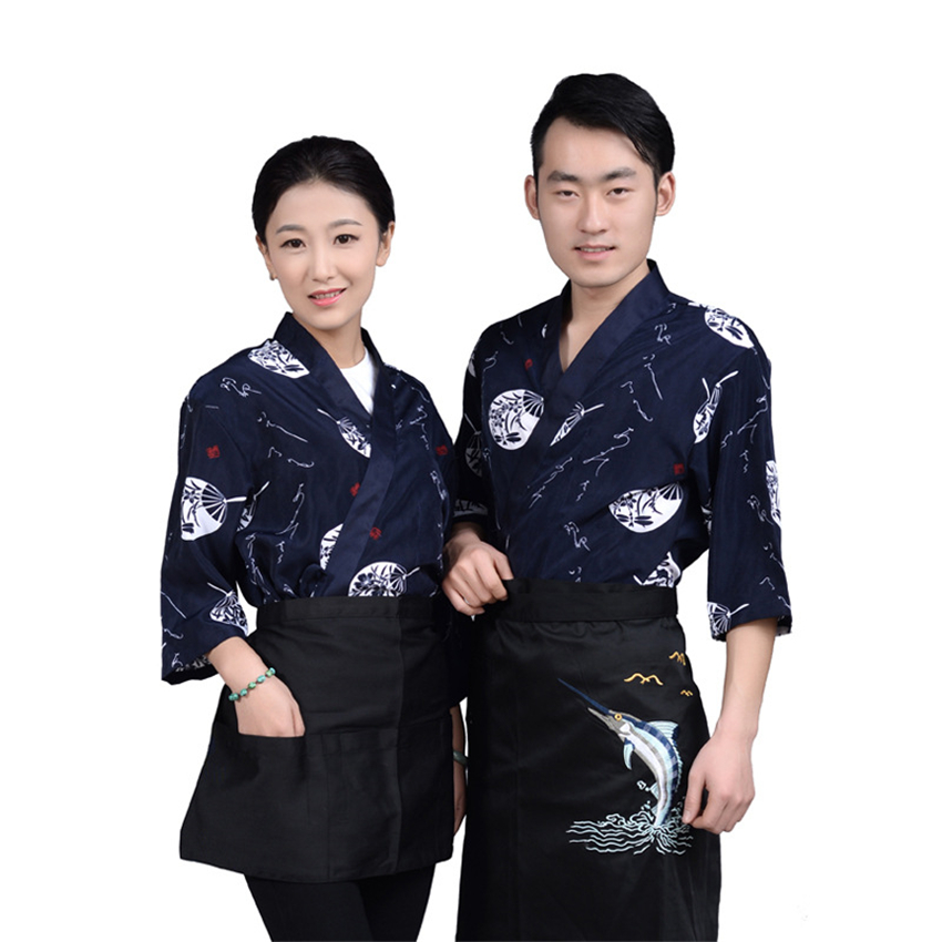 Cook Uniforms Japanese Sushi Chef Coat Restaurant Clothing Print Long Sleeve Kimono Cuisine Kitchen Work Wear Food Service