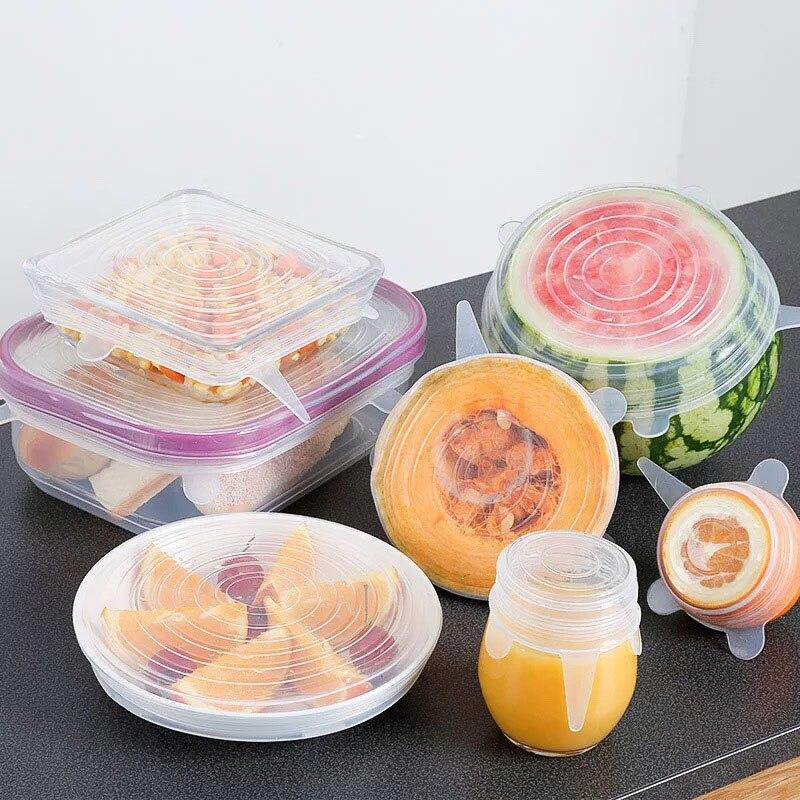 6 Pièces/ensemble Silicone Frais Garde Couverture Réutilisable Film D'emballage Alimentaire élastique Stretch Joint Transparent Couverture Accessoires De Cuisine