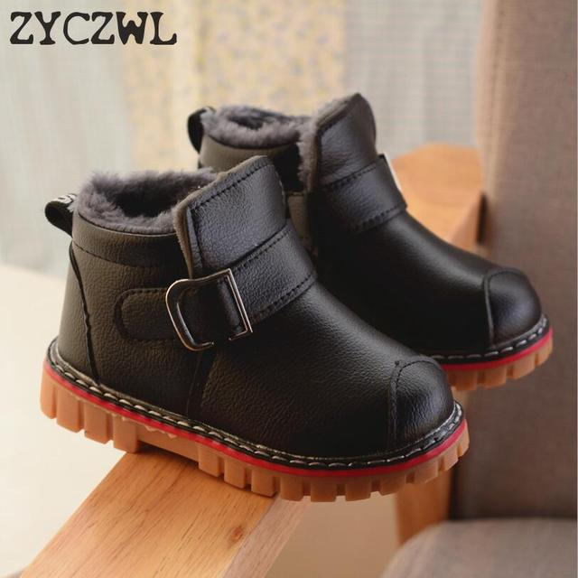New Winter Snow Boots Children Boys Girls Leather Boots Baby Toddler Shoes Kids Warm Plush Boots Size 21-30