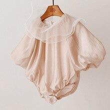 Корейский комбинезон с гофрированным воротником для маленьких девочек платье принцессы для новорожденных