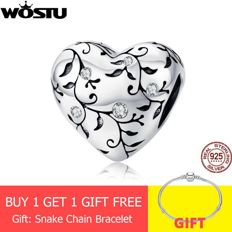 WOSTU, настоящее 925 пробы, серебряные бусины в форме сердца, цветок, ретро узор, подвески, подвеска, подходит для оригинального браслета, серебро 925, ювелирное изделие CQC1323