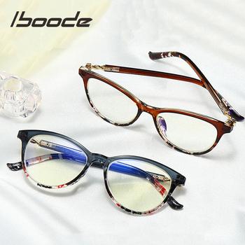 Iboode kocie okulary do czytania kobiety blokujące niebieskie światło do czytania okulary do czytania do czytania w dioptrii + 1 0 1 5 2 0 2 5 3 0 3 5 4 0 tanie i dobre opinie Przezroczysty WOMEN Lustro 5 2cm Akrylowe Z tworzywa sztucznego 4 3cm