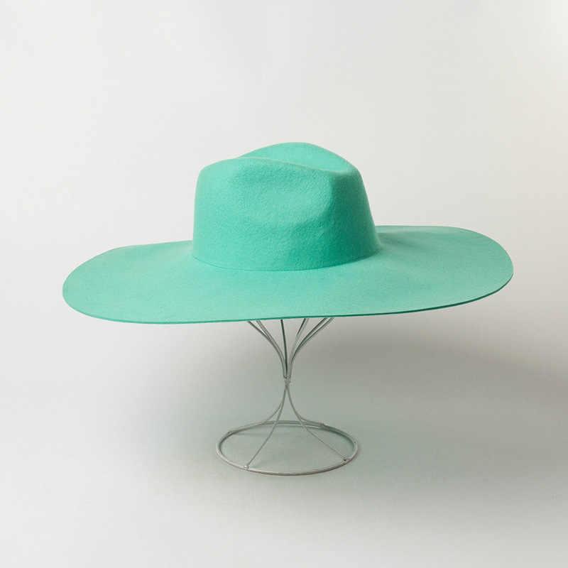 유럽과 미국의 가을과 겨울 새로운 패션 캐주얼 증가 모자 과일 녹색 모직 재즈 탑 모자 catwalk 스타일 펠트 모자