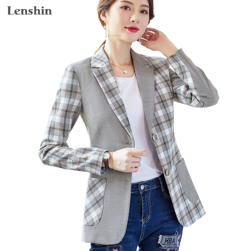 Lenshin Woven Fabric Irregular Pattern Plaid Blazer Elegant Casual  Jacket Fashion Keep Slim Office Lady Women Outwear Coat