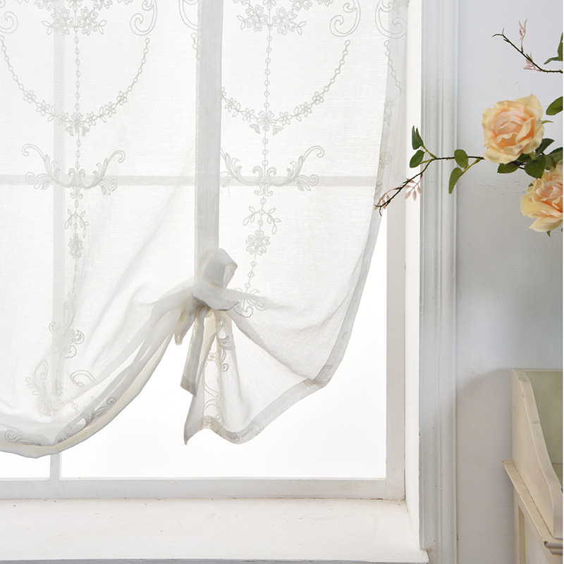 White Embroidered Short Curtain For Kitchen Floral Sheer Tulle Curtains For Bedroom Voile Window Screening Curtain Blinds Drapes