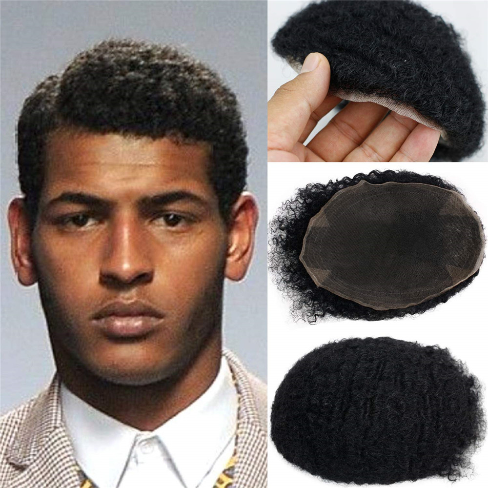 Afro Curly Men's Toupee For Black Man 100%Human Hair Full Swiss Lace Replacement African American Wig10x8inch 1B Black Remy Hair