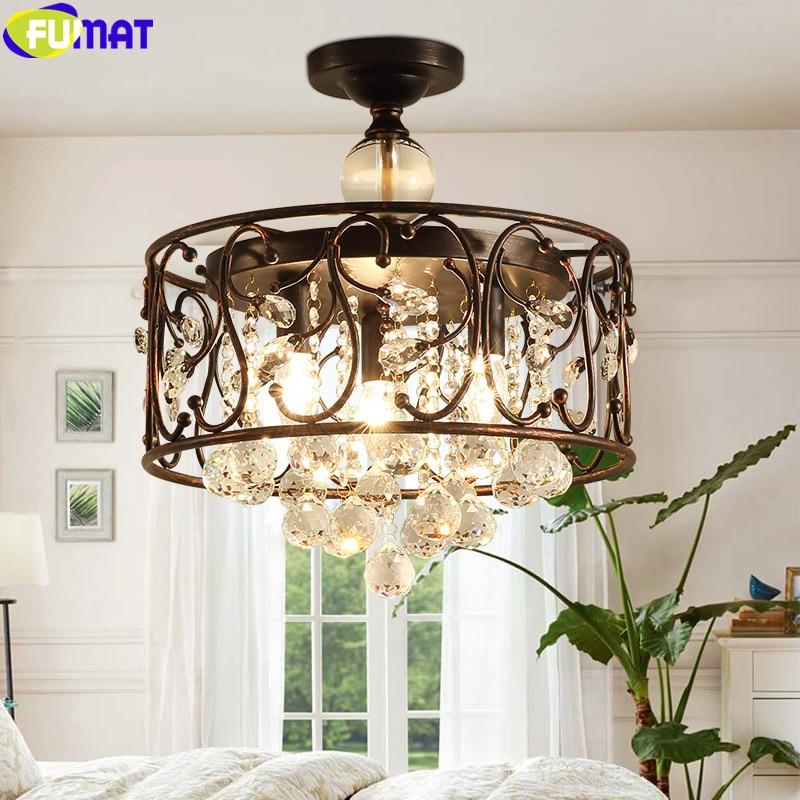 FUMAT Crystal K9 Pendant Lamp Iron Art Flower Round Light Rust Retro Color Hanging Light Fixture American Country Style Lighting