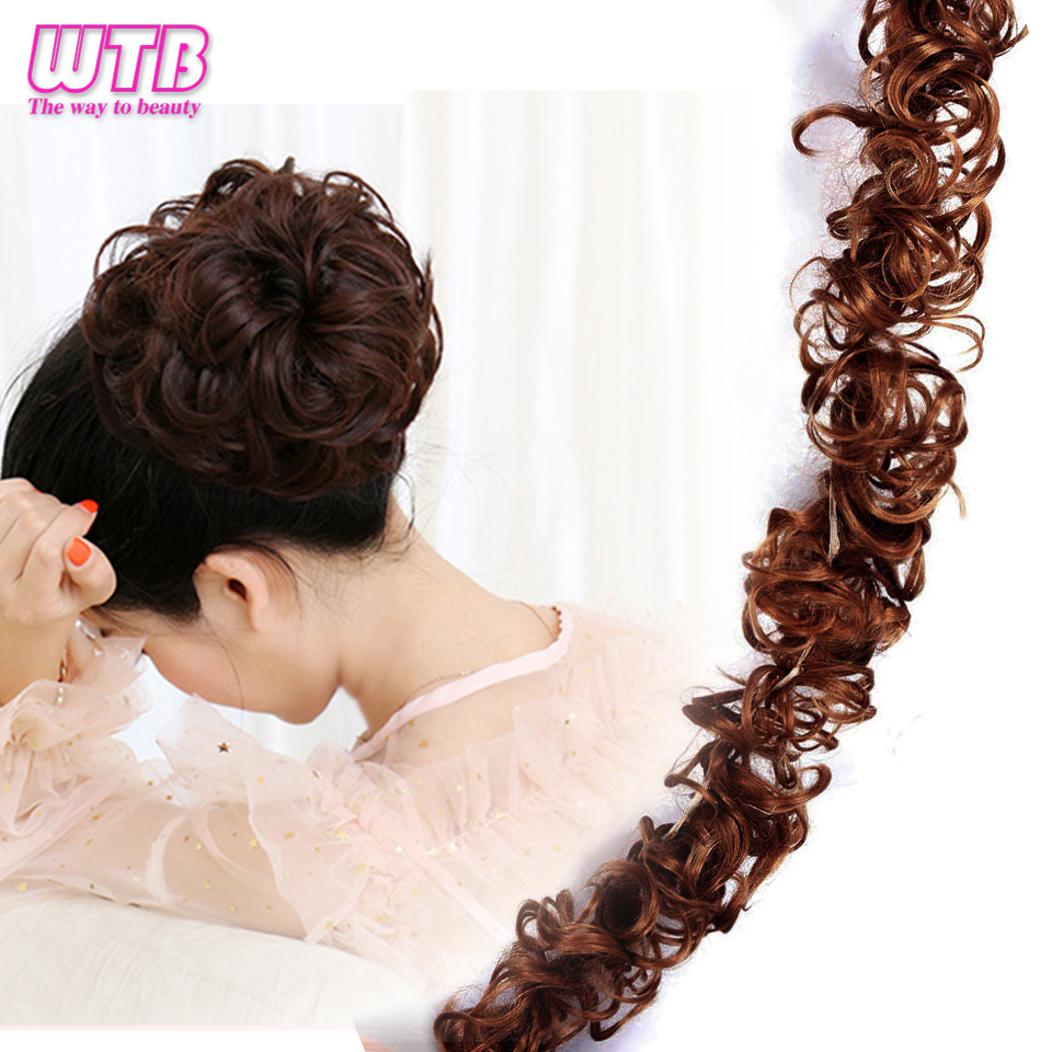 Synthetic Women Curly Bun Chignon Elastic Band Clip In Hair Extensions Black Brown High Temperature Fiber Fake Hairpiece