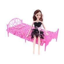 Мини-игрушки кровать для куклы Барби красочные миниатюрные мебель для спальни односпальная кровать+ подушка+ простыня для кукольный домик игрушки