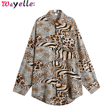 Womens Blouses and Shirts 2019 Autumn New Loose Korean Long Sleeve Women Fashion Office Ladies Leopard Blouse Tops