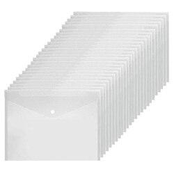 48Pcs Envelope Transparent File A4 Folder with Snap Plastic Envelope Waterproof Folder Suitable for School Home Office