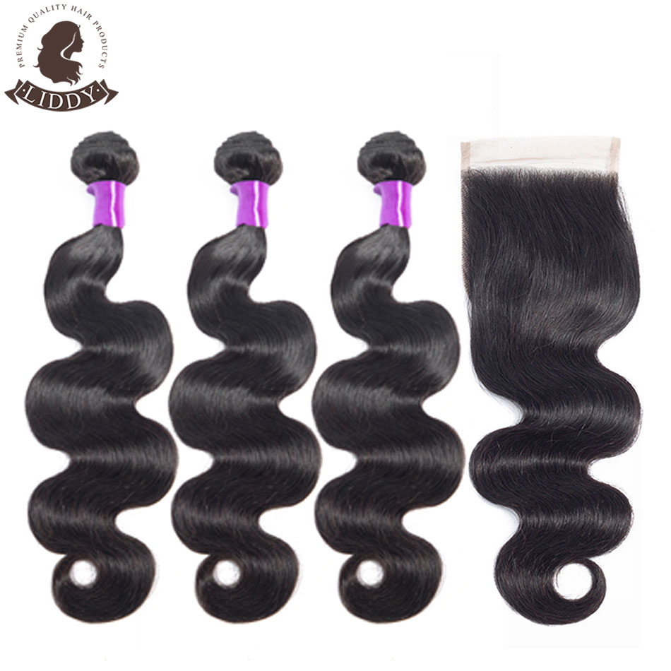 Liddy Body Wave Bundles With Closure Peruvian Hair 3 Bundles With Closure 100% Human Hair Natural Color Non-remy Hair Extension