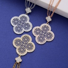 Vintage Four Leaf Hollow Flower Pendant Necklace Multi Layer Long Chains Rose Gold Crystal Collier Jewelry For Women Gift 2019