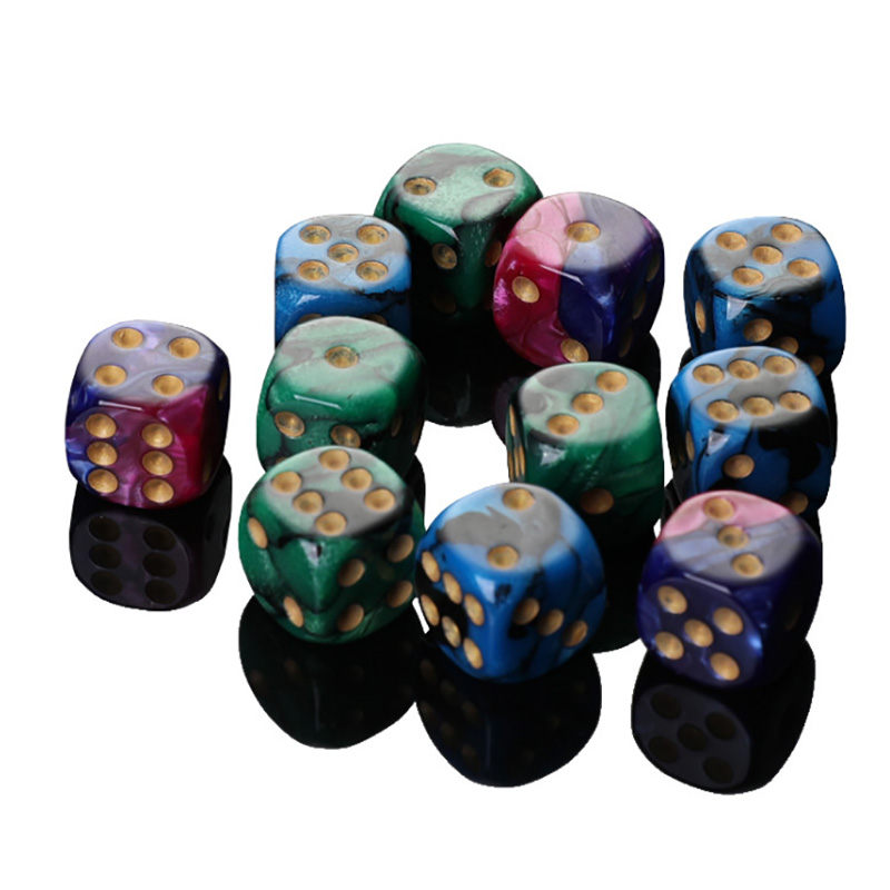 10pcs/set Multicolor Dice Puzzle Game Send Children 6 Sided Dice Funny Game 16mm