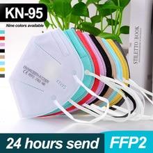 5 Layers FFP2 Mascarillas KN95 facial masks Adult Filter Respirator mask Dustproof Reuseable Face Mouth Mask Multicolor Masque