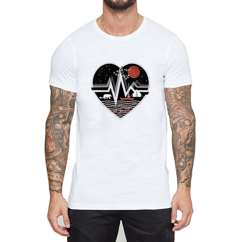 Loving <font><b>Wilderness</b></font> Heart Men <font><b>T</b></font>-<font><b>Shirt</b></font> Pattern Printed <font><b>T</b></font> <font><b>Shirt</b></font> Short Sleeve O-Neck <font><b>T</b></font>-<font><b>Shirts</b></font> Fashion <font><b>T</b></font> <font><b>Shirt</b></font> Hip Hop Top Tees image