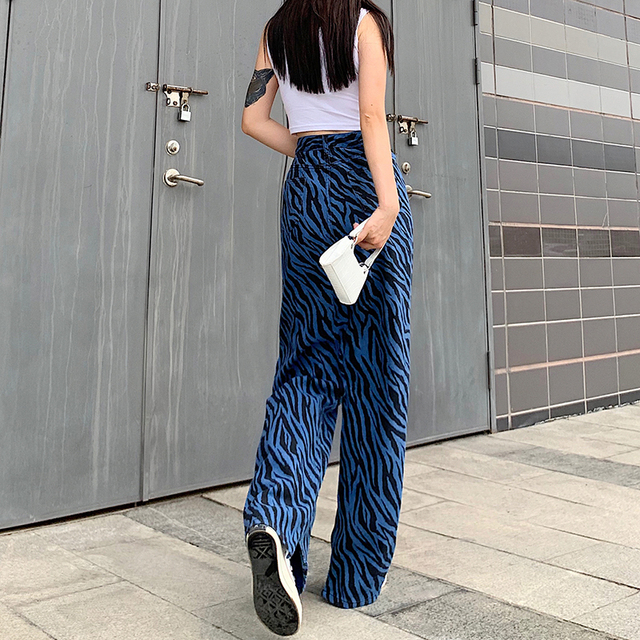 Baggy Pants with zebra stripes in black and blue