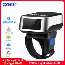 Trohestar 1D/2D Wireless Barcode Scanner Portable Bar Code Reader PDF USB Bluetooth finger scanner Compatible for Windows iOS