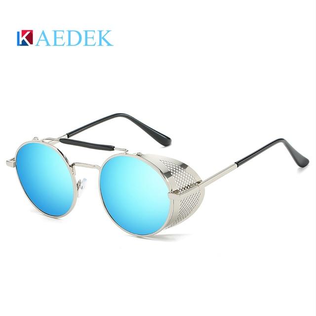мужские и женские солнцезащитные очки kaedek круглые в стиле фотография