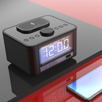 Wireless Charging Alarm Clock Bluetooth Speaker FM Radio with LED Display for IPhone Xs Max, XR, X/Xs, Galaxy S9/S8/S7, AirPods