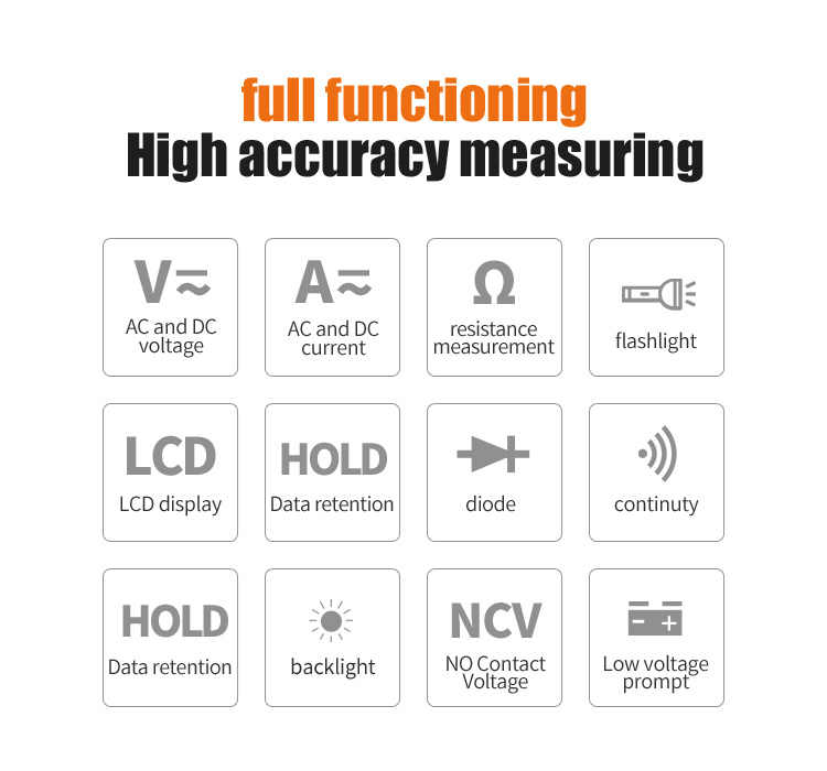 Mileseey NCV 디지털 멀티 미터 자동 범위 설정 AC/DC 전압 측정기 플래시 라이트 백 라이트 대형 스크린