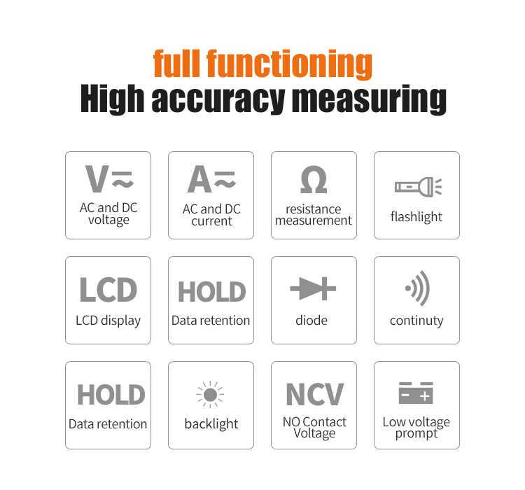 Mileseey NCV Multimetro Digitale Auto Ranging AC/DC tester di tensione Flash di luce luce Posteriore di Grandi Dimensioni Dello Schermo