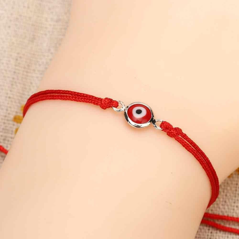 Czerwona nić Evil Eye Charms String Rope plecione bransoletki Lucky bransoletki robione ręcznie czerwony sznurek regulowany DIY biżuteria dla kobiet mężczyzn