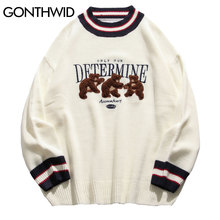 GONTHWID Bear Patchwork Striped Knitted Jumpers Sweaters Streetwear Hip Hop Harajuku Casual Pullover knitwear Mens Fashion Tops
