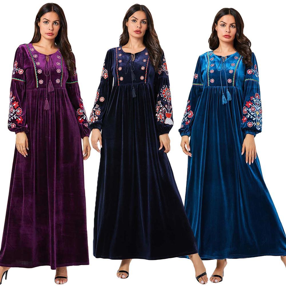 Musulman Abaya femmes velours à manches longues Maxi robe broderie caftan Jilbab lâche vêtements dubaï grande taille 2019 automne mode