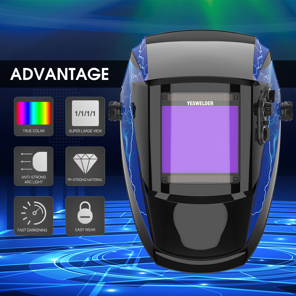 YESWELDER True Color Welding Mask Solar Power Welding Helmet  Auto Darkening Welding Hood 1/1/1/1 Filter For TIG MIG ARC EH-091X