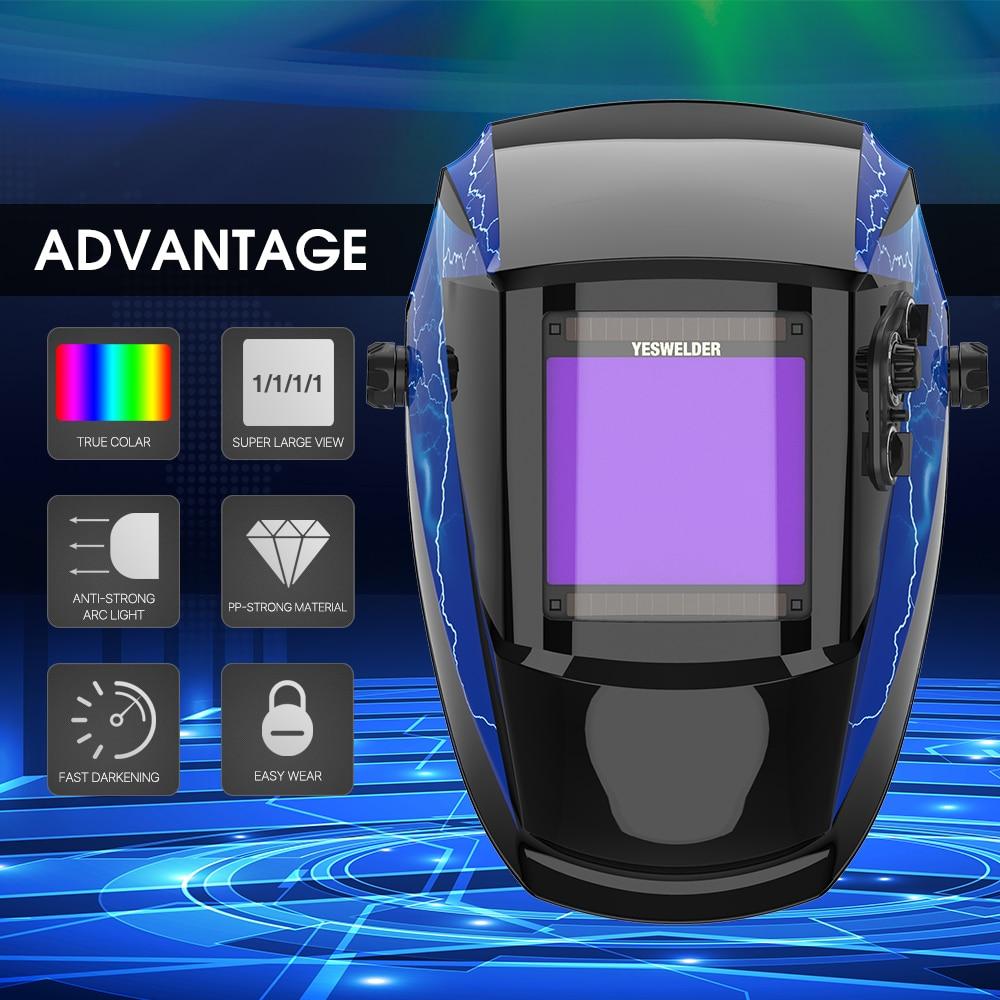 YESWELDER True Color Welding Mask Solar Power Welding Helmet  Auto Darkening Welding Hood 1/1/1/1 Filter for TIG MIG ARC EH-091X
