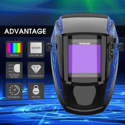 YESWELDER True Kleur Lassen Masker Zonne-energie Lashelm Auto Verduistering Laskap 1/1/1/1 filter voor TIG MIG ARC EH-091X
