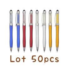 Lot 50 adet renkli kristal iğne tükenmez kalem dokunmatik ekran tükenmez kalem özel logolu kalem promosyon hediye kalem kişiselleştirilmiş hediye