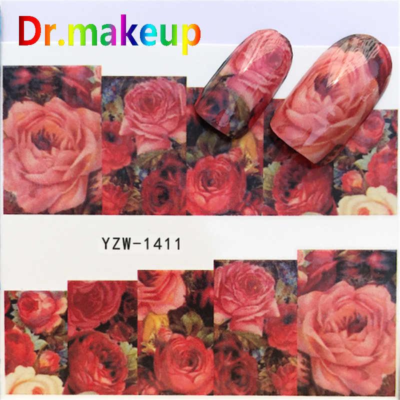 Dr. Maquillage 1 feuille bricolage transfert d'eau ongles autocollants 3D couverture complète fleur colorée Rose curseurs pour Nail Art manucure décorations