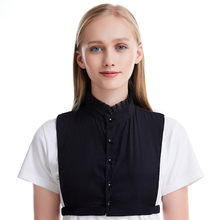 Elegant Solid Half Shirt Blouse Women Fake Collar Muslim Monochrome Detachable Lapel Stand Collars