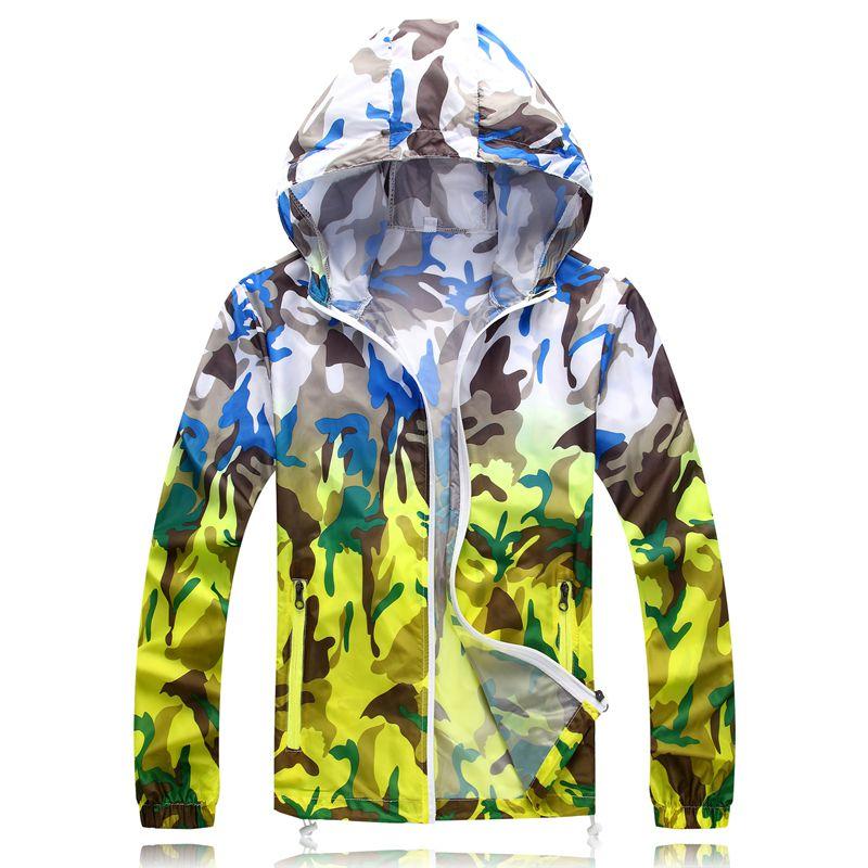 Sun Protection Anti UV Thin Camouflage Men Women Outwear Trip Outdoor Camping Hiking Tops Shirt Zipper Hooded Unisex Jacket