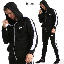 New Brand Tracksuit Fashion high quality Men Sportswear Two Piece Sets All Cotton Fleece Thick hoodie+Pants Sporting Suit Male