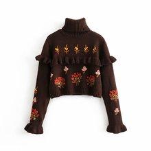 Повседневные коричневые свитера с цветочным принтом для девочек; коллекция года; сезон весна-осень; Новинка; модный короткий женский пуловер с высоким воротом; элегантный женский кардиган с воланами