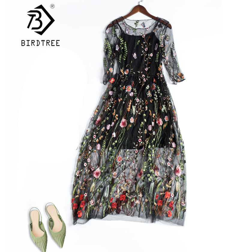 Women Floral Bohemian Flower Embroidered 2 Pieces Vintage Boho Mesh Long Dress