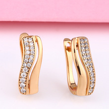 Women Small Vintage Earrings Crystal Zircon Gold Color Brass Stud Earrings For Female Fashion Accessories Jewelry fashion double round small hoop earrings gold color crystal stud earrings trendy gothic earring jewelry gifts for women