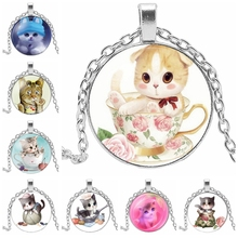 2019 Hot Sale High Quality Girl 3 Color Cute Cat Glass Convex Round Pendant Necklace Jewelry Gift